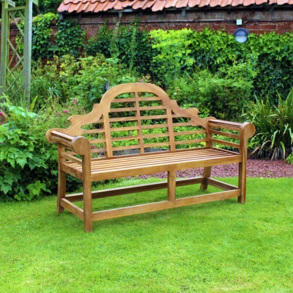 curved heavy duty teak bench garden patio furniture free local delivery - Garden Furniture Eastbourne