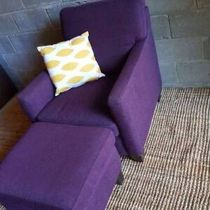 Armchair & Matching Ottoman Set Purple Fabric Coogee Eastern Suburbs Preview