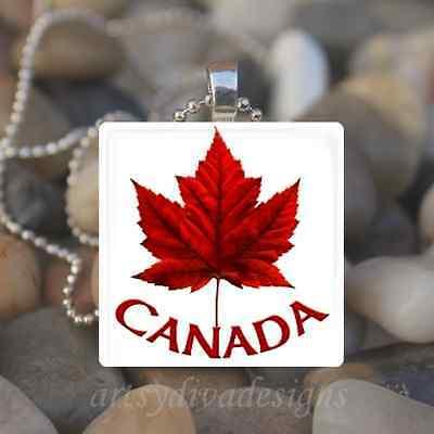 CANADA MAPLE LEAF GLASS TILE PENDANT NECKLACE KEYCHAIN Maple Leaf Tile