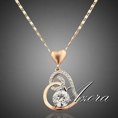 Women Love Heart Chain Necklace Crystal 18K Rose Gold Plated Swarovski Fashion