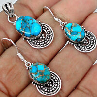 BLUE COPPER TURQUOISE GEMSTONE 925 SILVER PENDANT & EARRINGS SET