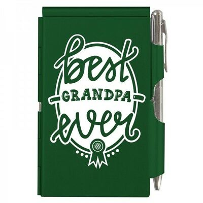 2121 Best Grandpa Ever Wellspring Flip Note Pocket Notepad Green Grandfather