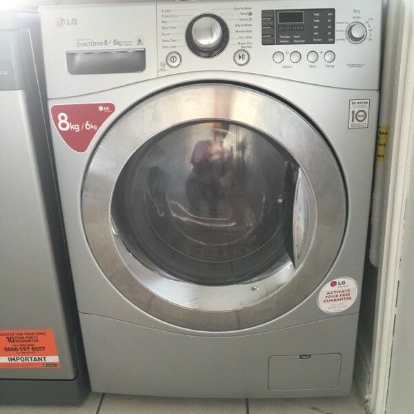 LG Washer Dryer in silver