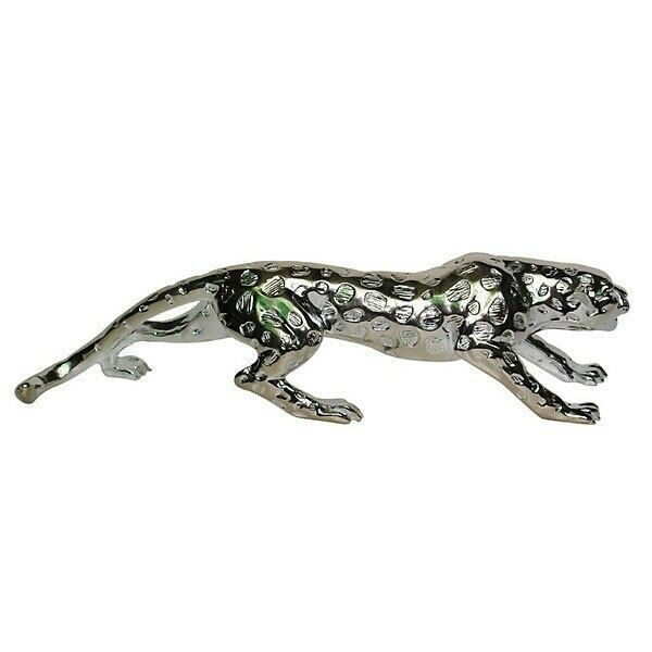 "31""L Big Cat Collector Statue Silver Leopard Cheetah Panther Running Figurine"