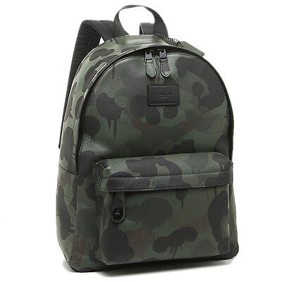 COACH MEN 72063 CAMPUS LEATHER BACKPACK  CAMO Wild Beast Military New WT $550.00
