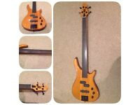Stagg fusion fretless electric bass guitar