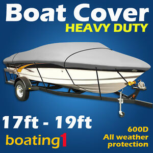 Heavy Duty Premium 600D 17ft-19ft Trailerable Marine Grade Boat Cover