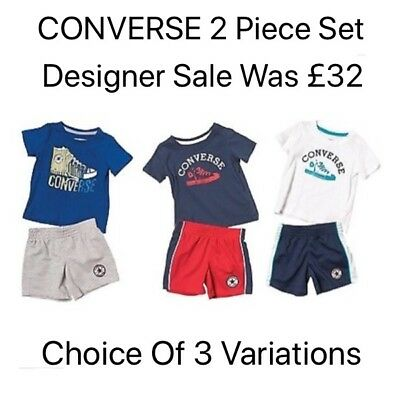 Infants Converse Sale (CONVERSE Baby Boys 2 piece Summer Set Variation SALE Cute Designer Party Bundle)