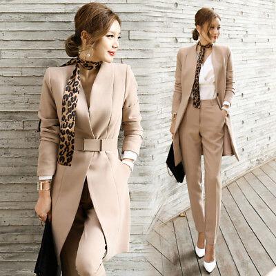 Tailleur completo donna beige giacca manica lunga e pantalone slim elegante 4859