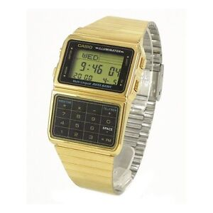 Casio DBC611G-1D Gold Stainless Steel Databank Calculator Watch 5 Alarms NEW