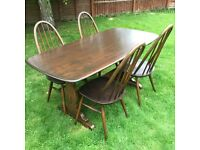 Stunning ercol table and four chairs