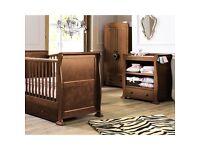 Dark wood Sleigh Cot Bed furniture set
