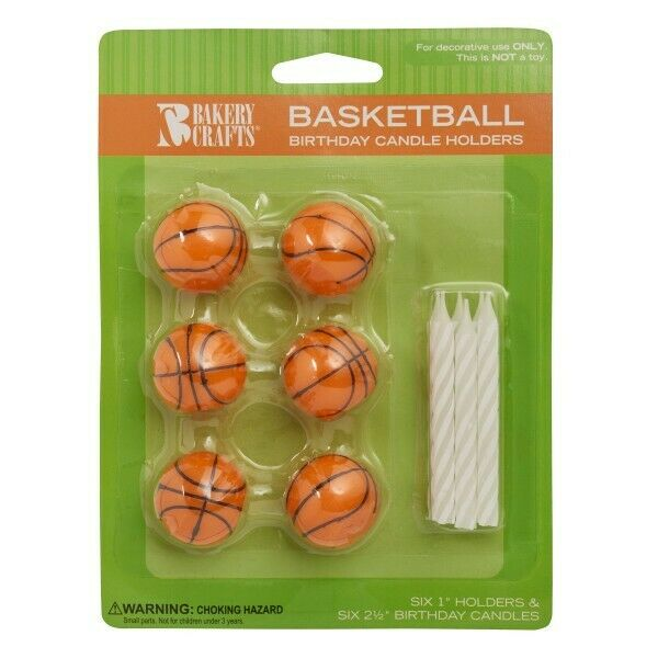 BASKETBALL Cake Candle Holder Set Birthday Party Supply Decor Cake Toppers
