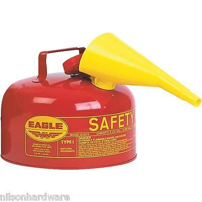 Type 1 Red Metal Steel Saftey Gas Fuel Can Container 2 Gallon W Funnel Ui-20-fs