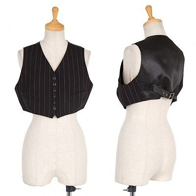 (SALE) JUNIOR GAULTIER stripe short compact wool Gillet Size 40(K-19523)