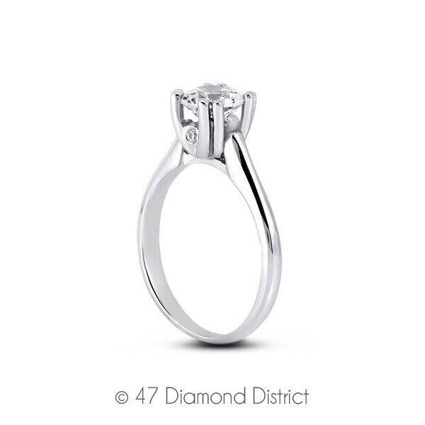 0.29 Ct G Vs2 Round Natural Certified Diamonds 18k Gold Classic Sidestone Ring