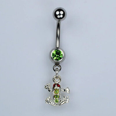 Frog Dangle Belly Button Ring Toad Amphibian Reptile Piercing Jewelry 14G (A16)