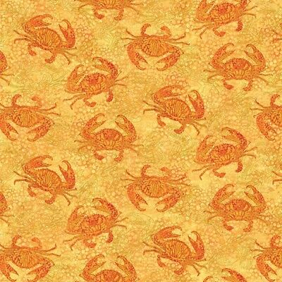 Northcott Shimmer Oasis Quilt Fabric Crabs Style 22092M/52 Yellow