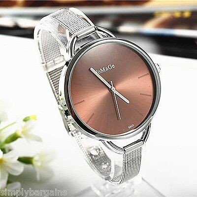 (Women's Dress Stainless Steel Quartz Brown Dial and Silver Bracelet Watch - US )