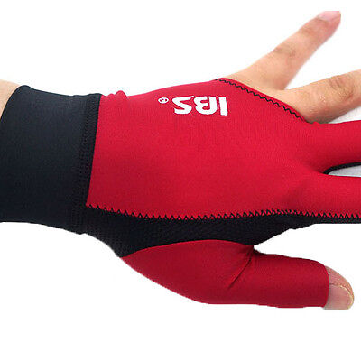 [IBS] Billiards Three Fingers Glove Professional  Spandex Snooker Pool (RED)