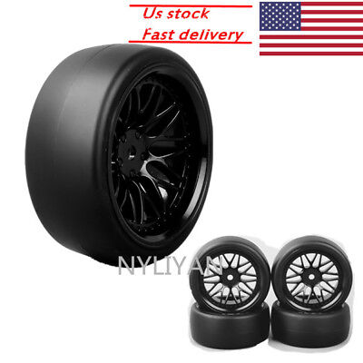 (US 4x Flat Drift Tires&Wheel Rim offset 6mm for HSP 1:10 RC On-Road Racing Car)