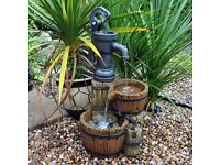 Twin Barrel and Hand Pump Garden Water Feature (Brand New)