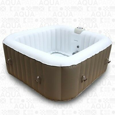 Aqua Spa Deluxe 4 Person Inflatable Portable Square Spa AquaSpa Hot Tub