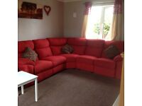 Red recliner corner couch