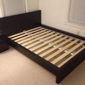 IKEA black queen size malm bed
