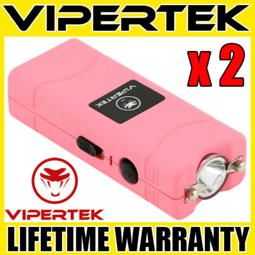 (2) VIPERTEK PINK VTS-881 Micro Stun Gun Self Defense Wholesale Lot
