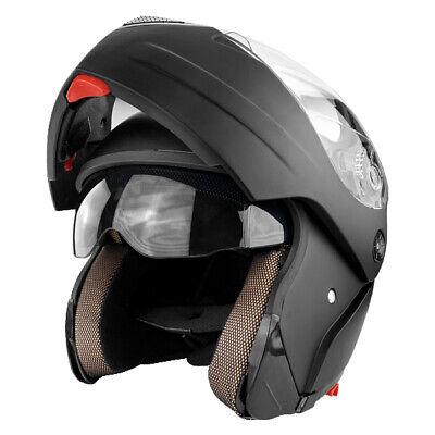 Full Face Modular Motorcycle Helmet With Flip Up Double Visor Matte Black DOT