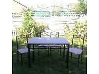 Metal frame table with wooden surface and 4 chairs chalk paint lilic wine colour