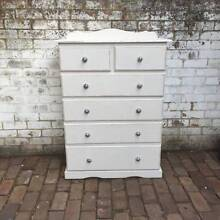 Shabby chic coastal home white painted tall boy drawers Leichhardt Leichhardt Area Preview