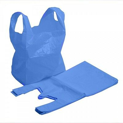 500 x New Strong MEDIUM size BLUE Plastic Vest Carrier Bags 11