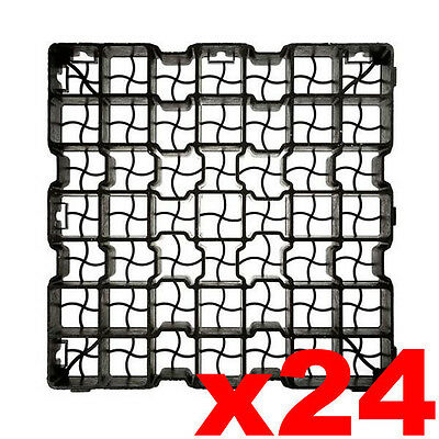24 x Plastic Paving Driveway Grid Turf Grass Soil Gravel Protector Drainage Mat