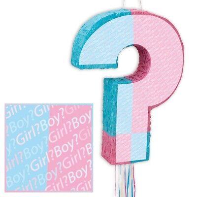 Pinata Rosa (Pinata zum Ziehen, FRAGEZEICHEN rosa+hellblau, Babyshower-, Gender-Reveal-Party)