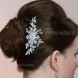 Bridal-Wedding-Prom-Bridesmaid-Jewelry-Flower-Crystal-Hair-Comb-Headpiece-T1375