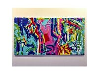 3 Large Colourful Abstract Paintings For Sale