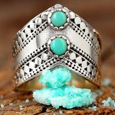 Sterling Silver Turquoise Ring for Women Boho Bohemian Blue Stone Thumb Chevron