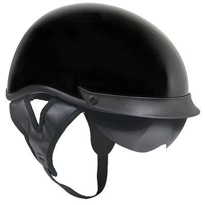 - Outlaw T72 DOT Gloss Black Drop Visor (Smoke) Motorcycle Skull Cap Half Helmet