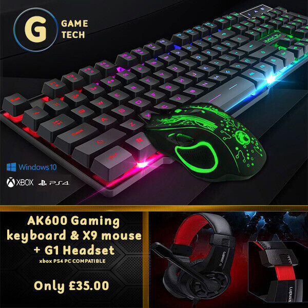 AK600 gaming keyboard & X9 Mouse + G1 Headset Xbox,ps4,PC Compatible   in  Anlaby, East Yorkshire   Gumtree