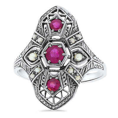 - GENUINE RUBY AND PEARL ANTIQUE DECO DESIGN 925 STERLING SILVER RING Sz 9.75, #23