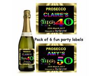 PERSONALISED PROSECCO PARTY LABELS PACK OF 6.