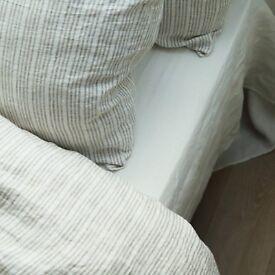 BRAND NEW - Multistripe Natural LINEN bedlinen set - King Size - worth £220