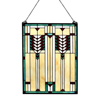 Stained Glass Tiffany Style Window Panel Mission Arts & Crafts LAST 2 THIS PRICE ()