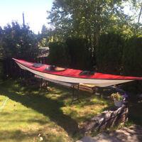 Sea Kayak 18 1/2 foot loa, fiberglass w/sprayskirt