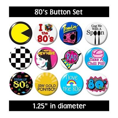 Misc. 80's BUTTONS (set #2) pins slogans sayings 1980's new (80s Sayings)