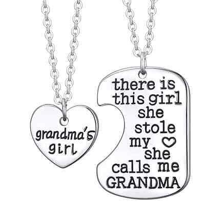 GRANDMA'S GIRL 2 PIECE NECKLACE SET GRANDDAUGHTER GIFT CHARM PENDANT SET  #KC12 Girl Necklace Set