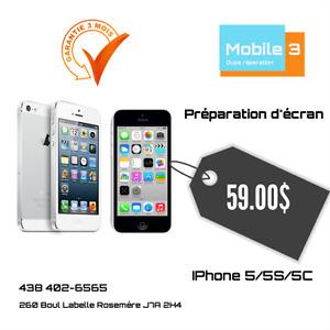 Réparation écran iPhone 5S/5C/5/SE à $59