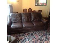 Brown leather couch